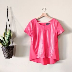 ANTHROPOLOGIE Hot Pink Perforated Faux Leather Top